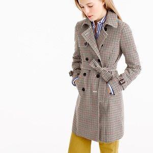 J. Crew Icon Trench Coat in Plaid Italian Wool